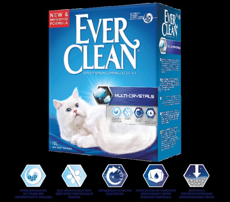 Наполнитель Ever Clean Multi Crystals комкующийся с мультикристаллами - 10 л